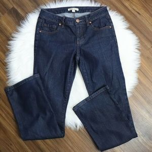 CAbi Dark Wash Mid Rise Bootcut Flare Jeans